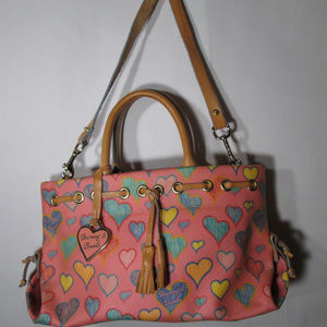 Dooney & Bourke Heart Print Pink Leather Satchel
